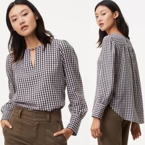 Loft Gingham Choker V-neck Long Sleeve Blouse